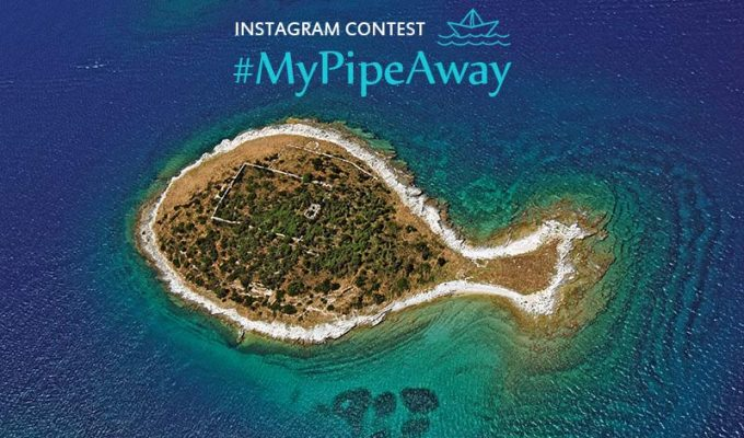 "Croatian fish-shaped island of Gaz, Brijuni group, photo by Renco Kosinozic, with a written title on Pipeaway's photo contest: ""INSTAGRAM CONTEST: #MyPipeAway"""