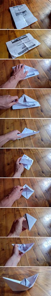 Step by step photo guide: how to make a paper boat out of a boarding pass in 10 steps, photo by Ivan Kralj