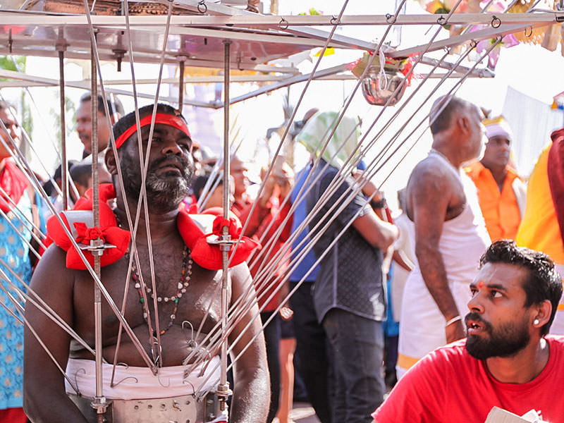 Photograph of a Thaipusam pilgrim wearing a Kavadi, a portable altar at Thaipusam - the structure is worn on his shoulders while the skewers are pressing the bearer's torso, photo by Ivan Kralj