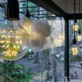 "Photo of the lightbulbs in the mezzanine of The Laban hotel, one of them ""dressed"" in a cotton wool resembling a cloud, photo by Ivan Kralj"