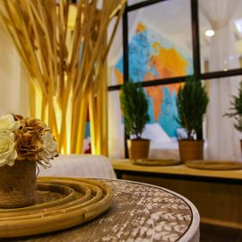 The photo of decoration details in the room of The Laban hotel, flowers, wood etc., photo by Ivan Kralj