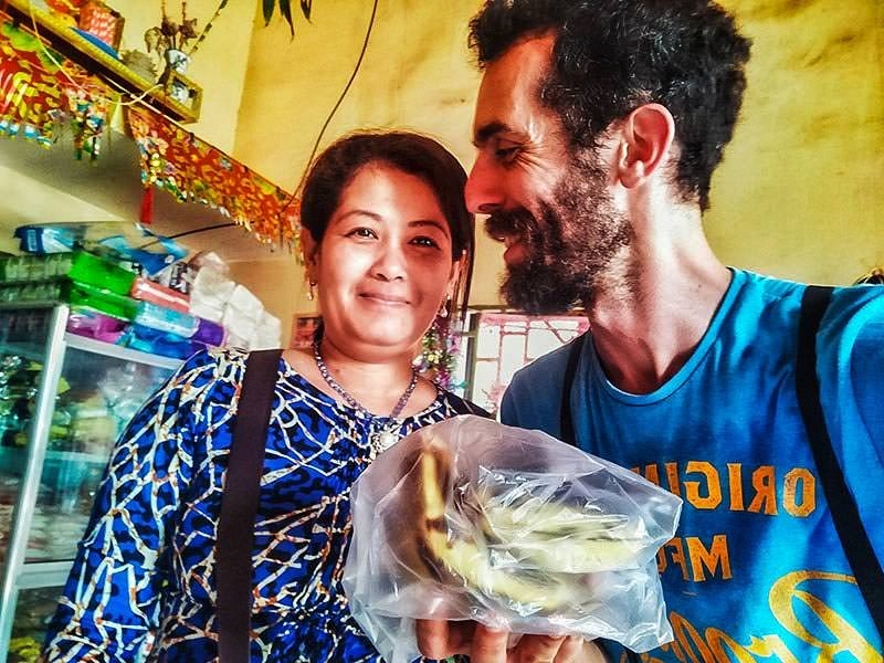 An unexpected act of kindness: Cambodian shop owner shared personal bananas with Pipeaway's editor after she didn't have any food to sell, photo by Ivan Kralj