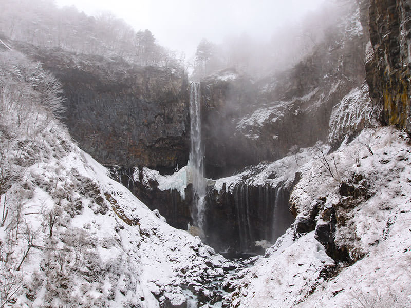 Magnificent view of the Kegon Falls, Japan, in the snowy surrounding, photo by Ivan Kralj