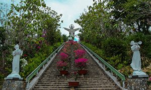 Christ the King statue in Vung Tau, Vietnam, photographed from the bottom of one of the sets of staircases, in total more than 800 stairs one needs to climb to get to the monument, photo by Ivan Kralj