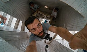 Pipeaway blogger Ivan Kralj holding the camera inside of the Jesus statue in Vung Tau, Vietnam, photographing 133-step staircase from above, photo by Ivan Kralj