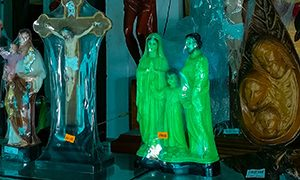 Glow-in-the-dark Holy Family, the phosphorescent souvenir sculpture in the shop at Christ the King monument in Vung Tau, Vietnam, photo by Ivan Kralj