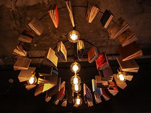 Chandelier made of books in Book and Bed hostel in Tokyo, Japan, photo by Ivan Kralj