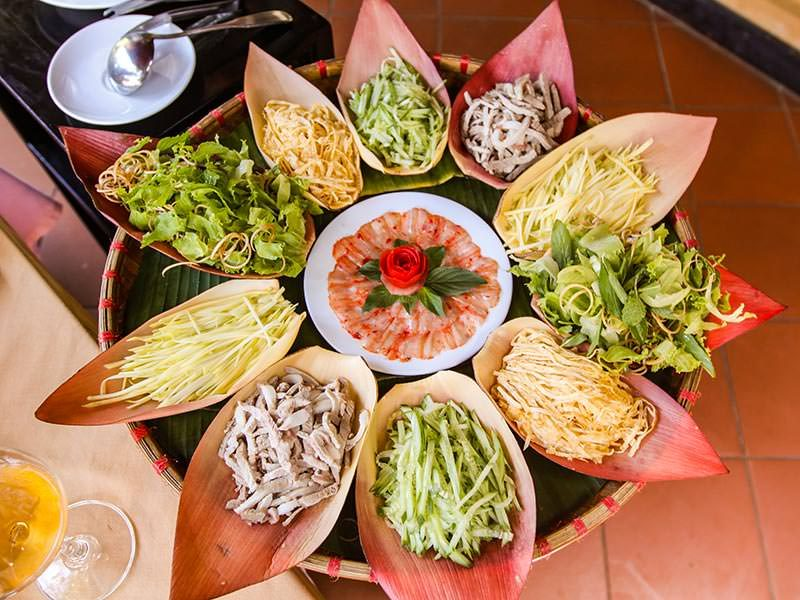 Ingredients for lau tha hot pot served in banana flower petals at Seahorse Resort, in Phan Thiet, photo by Ivan Kralj