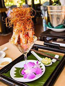 Fried prawn served in a glass with lemon grass, at Seahorse Resort in Phan Thiet, photo by Ivan Kralj