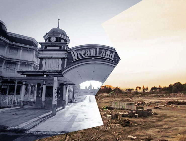 Collage picture of the entrance to Nara Dreamland, Japan's amusement park, made of photographs by Victor Habchy (before demolition) and Ivan Kralj (after demolition)