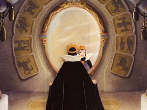 From the cartoon, queen from the Snow White fairytale standing in front of the mirror