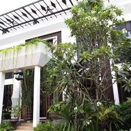 Jaya House River Park hotel entrance covered with greenery, in Siem Reap, Cambodia, photo by Ivan Kralj
