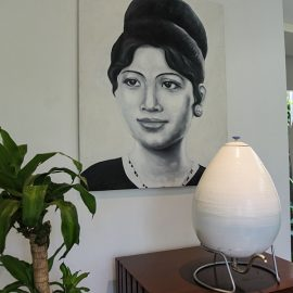 Egg for refilling the water bottle and art deco picture at Jaya House River Park hotel lobby, in Siem Reap, Cambodia, photo by Ivan Kralj