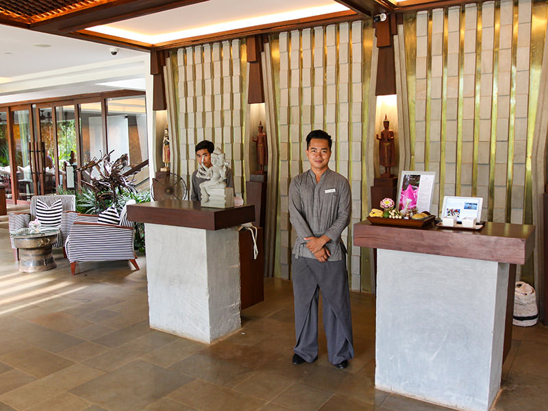 Recepctionist Jason at Jaya House River Park hotel lobby, in Siem Reap, Cambodia, photo by Ivan Kralj