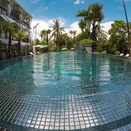 Silver swimming pool at Jaya House River Park hotel, in Siem Reap, Cambodia, photo by Ivan Kralj