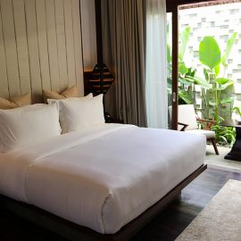 Bed in Junior Suite of Jaya House River Park hotel, in Siem Reap, Cambodia, photo by Ivan Kralj
