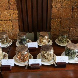 Organic tea buffet at the restaurant of Jaya House River Park hotel, in Siem Reap, Cambodia, photo by Ivan Kralj