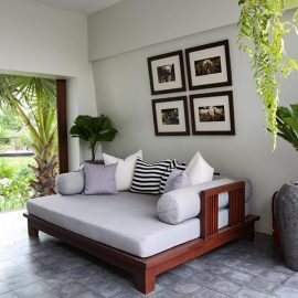 Jaya House River Park hotel lounge with a day bed, in Siem Reap, Cambodia, photo by Ivan Kralj