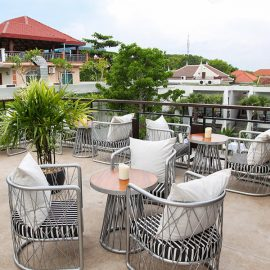 Jaya House River Park hotel terrace with chairs, in Siem Reap, Cambodia, photo by Ivan Kralj