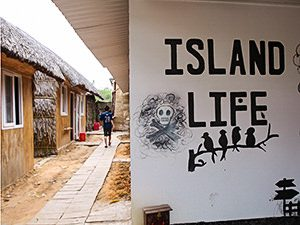 Island Life Hostel graffiti on the wall and huts, on Phu Quoc Island, Vietnam, photo by Ivan Kralj