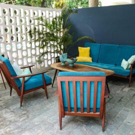 Retro styled furniture in Rambutan Resort Phnom Penh lobby, Cambodia, photo by Ivan Kralj