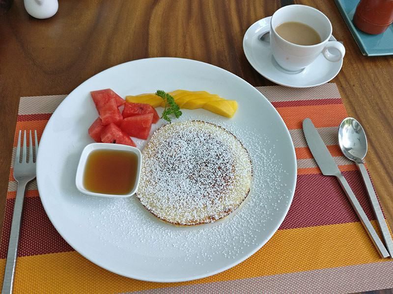 Pancakes with fruit breakfast at Rambutan Resort Phnom Penh, Cambodia, photo by Ivan Kralj