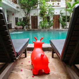 Red pool toy at swimming pool at Rambutan Resort Siem Reap, Cambodia, photo by Ivan Kralj