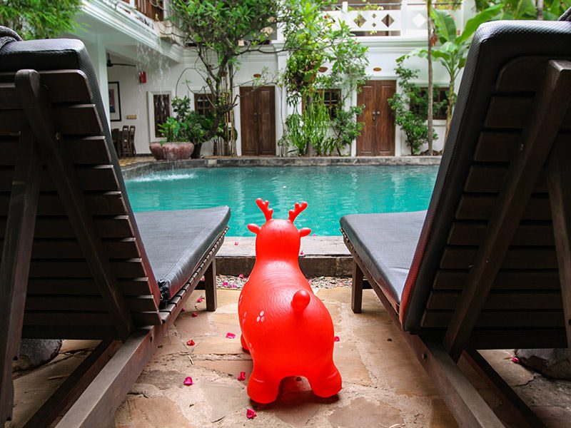 Red pool toy at swimming pool at Rambutan Resort Siem Reap, Cambodia, photo by Ivan Kralj