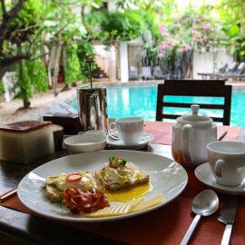 Poached eggs and bacon breakfast at Rambutan Resort Siem Reap, Cambodia, photo by Ivan Kralj