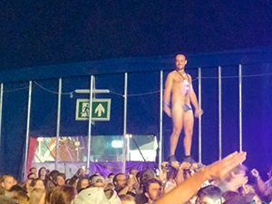 Naked audience member at the concert of The Naked and Famous at Sziget Festival 2017 in Budapest, Hungary, photo by Ivan Kralj