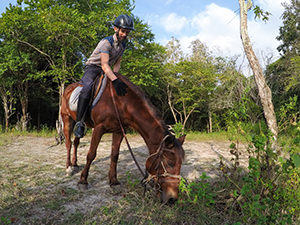 Blogger Ivan Kralj riding the horse Bruce at The Menjangan Resort, one of the answers to where to stay in Bali, Indonesia, photo by Ivan Kralj