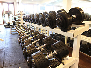 Weights in the gymnasium of Samata Resort in Sanur, one of the answers to where to stay in Bali, Indonesia, photo by Ivan Kralj