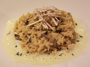 Mushroom risotto on parmesan foam at Zenso Restaurant in Samata Resort, one of the answers to where to stay in Bali, Indonesia, photo by Ivan Kralj