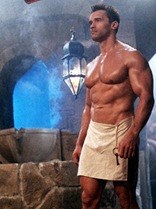 "Arnold Schwarzenegger in the revealing loin cloth in the movie ""Red Heat"" (1988) partly filmed in Rudas Baths, in Budapest, Hungary"