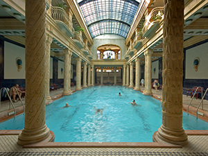 Swimming pool in Gellert Baths, one of Budapest's most famous thermal baths and spas