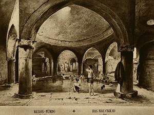 Old drawing of Rudas Baths in Budapest, Hungary