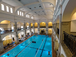 20-meters long swimming pool in the classicist wing of Rudas Baths building, in Budapest, Hungary, photo by Ivan Kralj