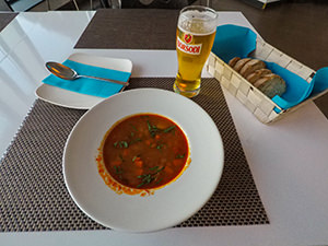 Goulash, homemade bread and beer in Rudas Baths restaurant, all for 3 Euros, in Budapest, Hungary, photo by Ivan Kralj