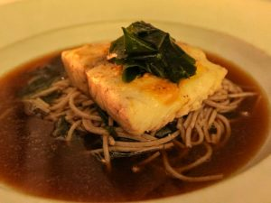 Bali honeymoon menu suggestion - steamed miso-crusted barramundi with sea vegetables and soba noodles, served at Faces restaurant in the Balé resort, in Nusa Dua, Bali, Indonesia, photo by Ivan Kralj