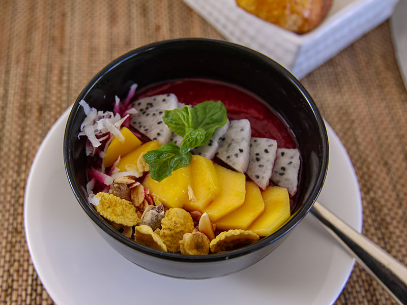 The smoothie bowl for the breakfast in the Faces restaurant at the Balé resort in Nusa Dua, Bali, Indonesia, photo by Ivan Kralj