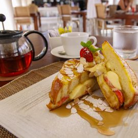The French toast with mascarpone, strawberries and maple syrup for the breakfast in the Faces restaurant at the Balé resort in Nusa Dua, Bali, Indonesia, photo by Ivan Kralj