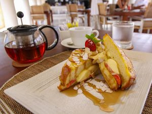 French toast a la Balé, with mascarpone, strawberries and maple syrup, at Faces restaurant in Balé, perfect breakfast for Bali honeymoon breakfast, Indonesia, photo by Ivan Kralj