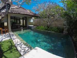Private swimming pool with stairs leading to it directly from the bathroom of the villa pavilion in the Balé resort, in Nusa Dua, Bali, Indonesia - great idea for Bali honeymoon, photo by Ivan Kralj