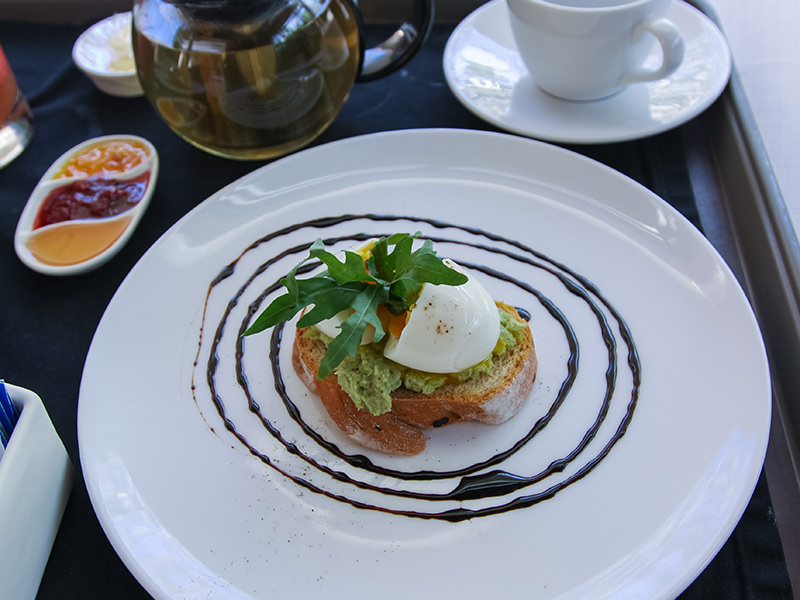 Foccacia bed with avocado and soft boiled egg at the Balé resort in Nusa Dua, Bali, Indonesia, photo by Ivan Kralj
