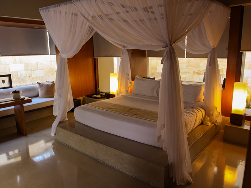The bed with the baldachin in the private pavilion at the Balé resort in Nusa Dua, Bali, Indonesia, photo by Ivan Kralj