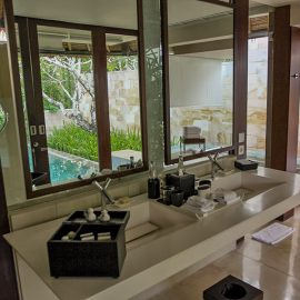 The bathroom with mirrors reflecting the private swimming pool in front of the private pavilion at the Balé resort in Nusa Dua, Bali, Indonesia, photo by Ivan Kralj