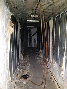 The hallway falling apart in the abandoned Hotel Belvedere Dubrovnik, Croatia, photo by Ivan Kralj