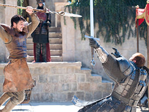 "Screenshot from the battle of Prince Oberyn and The Mountain in HBO series ""Game of Thrones"""
