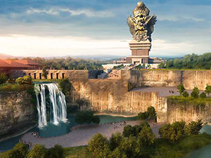 The drawing of the final GWK Bali product - landscape dominated by the waterfall and the largest statue in the world - Geruda Wisnu Kencana