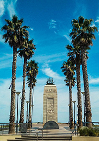 Pioneer Memorial at Glenelg, Australia, monument honouring the early settlers of South Australia, surrounded by palm trees, photo by Ivan Kralj